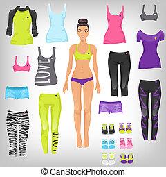 vettore, bambola, su, sport, carta, assortimento, vestire, runn
