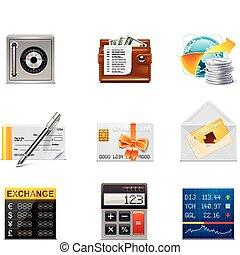 vettore, bancario, icons., parte, 2