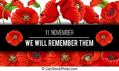 vettore, bandiera, 11, novembre, ricordo, papavero, giorno