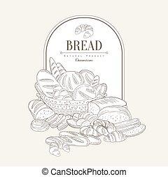 vettore, bandiera, bread., illustrazione