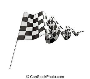 vettore, bandiera, checkered