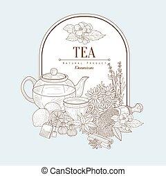 vettore, bandiera, tè, illustrazione