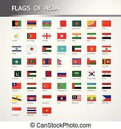 vettore, bandiere, asia