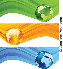 vettore, bandiere, set, globe., illustrazione