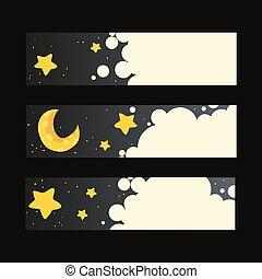 vettore, bandiere, set, notte