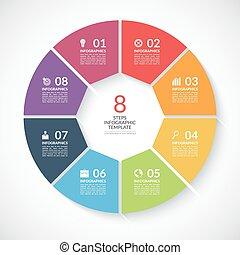 vettore, banner., parti, infographic, sagoma, 8, passi, cerchio, opzioni