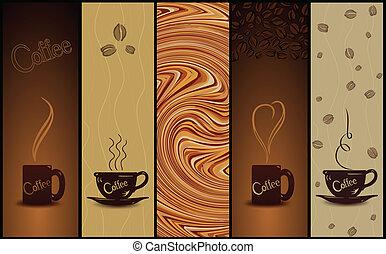 vettore, banners., serie caffè, illustrazione