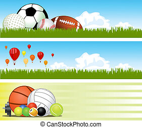 vettore, banners., sport
