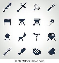 vettore, barbecue, set, nero, icona