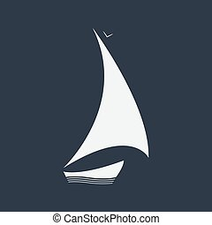 vettore, barca, su, il, onde