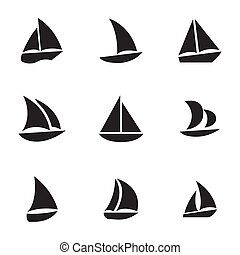 vettore, barca vela, set, nero, icone