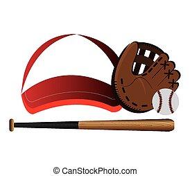 vettore, baseball, disegno, illustration.