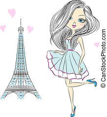 vettore, bello, moda, ragazza, in, parigi