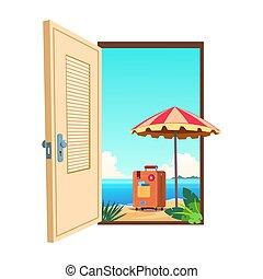 vettore, benvenuto, spiaggia, cartone animato, sagoma