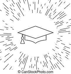 vettore, berretto, graduazione, icona
