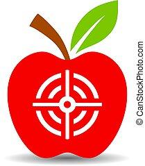 vettore, bersaglio, mela, icona