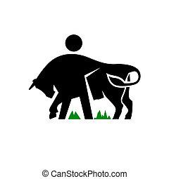 vettore, bestiame, segno