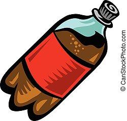 vettore, bevanda, pop, bottiglia soda