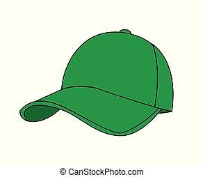 vettore, bianco, berretto, baseball, illustrazione