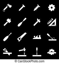 vettore, bianco, carpenteria, icona, set