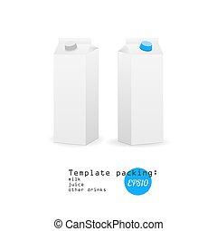 vettore, bianco, carta, latte, sagoma
