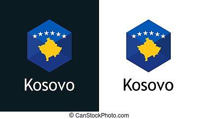 vettore, bianco, nero, bandiera, icona, kosovo