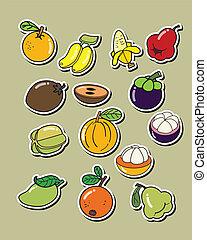 vettore, bianco, set, fondo, frutta