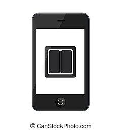 vettore, bianco, smartphone, moderno, isolato