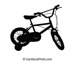 vettore, bicicletta, illustrazione, bambini
