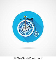 vettore, bicicletta, retro, icona
