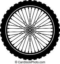 vettore, bicicletta, ruota, nero, silhouette