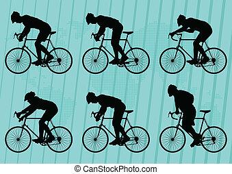 vettore, bicicletta, silhouette, bicicletta, fondo, sport, cavalieri, strada