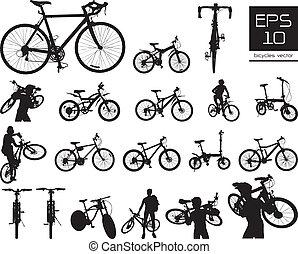 vettore, bicicletta, silhouette, set