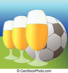vettore, birra, football, illustrazione