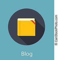vettore, blog, illustrazione, concetto, appartamento
