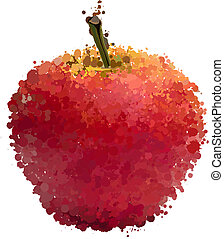 vettore, blots, isolato, bianco rosso, mela