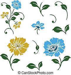 vettore, blu, e, giallo, floreale, icone