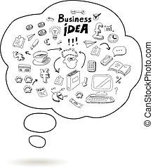 vettore, bolla, idea, scarabocchiare, icona, isolato, affari, discorso, infographics, illustrazione