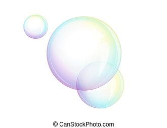 vettore, bolle, -, sapone, schiuma