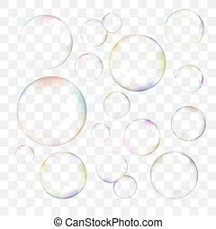 vettore, bolle, set, sapone, trasparente