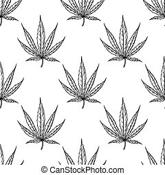 vettore, botanico, marijuana, canapa, seamlesss, schizzo, foglia, drawing., pattern., pianta, canapa