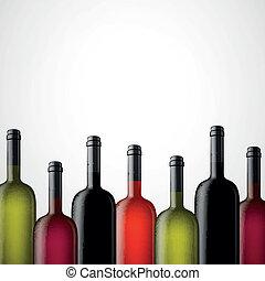 vettore, bottiglie, vino