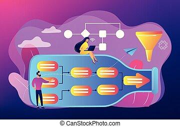 vettore, bottleneck, concetto, illustration., analisi