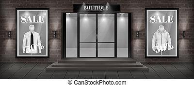 vettore, boutique, negozio, facciata, con, cartello