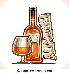 vettore, brandy, bevanda, alcool, illustrazione