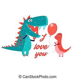 vettore, brillantemente, amoroso, enamored, dinosauro