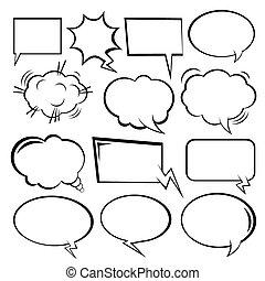 vettore, bubbles., comico, set, discorso