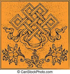 vettore, buddismo, eterno, nodo, loto, infinito, tibetano