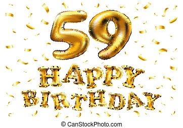59 Cinquanta Compleanno Nove Anno Torta Scheda Felice Eps10