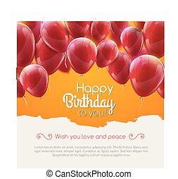 vettore, buon compleanno, scheda, con, rosso, palloni, festa, invitation.